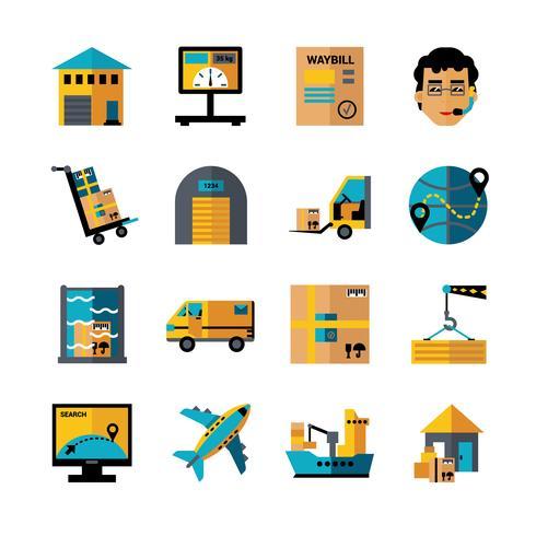 Set di icone di colore di logistica vettore