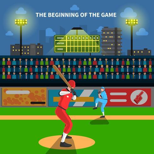 Illustrazione del gioco di baseball vettore