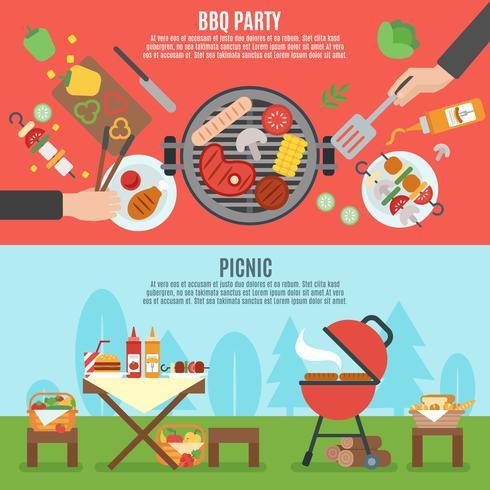 Set di banner festa barbecue vettore