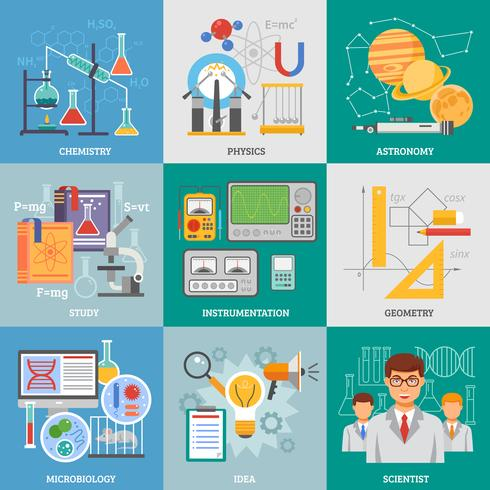 ricerca scientifica 9 icone piane quadrate vettore