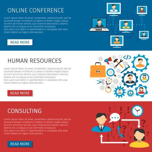 Set di banner piatto di gestione delle risorse umane vettore