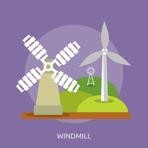 Disegno concettuale dell'illustrazione del mulino a vento vettore