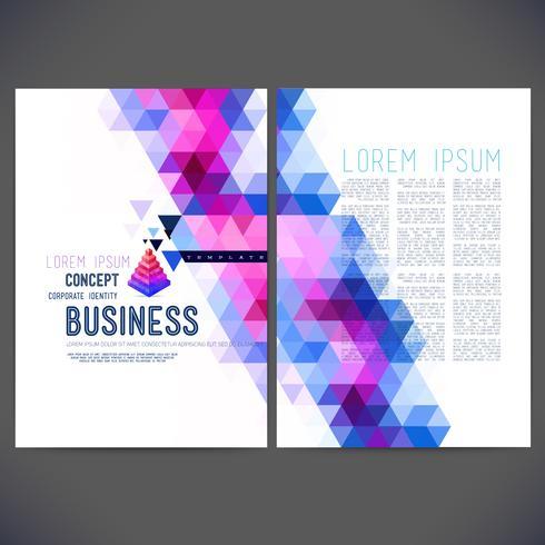 Disegno del modello vettoriale astratto, brochure, siti Web, pagina, foglio illustrativo, con sfondi triangolari geometrici colorati, logo e testo separatamente per te.