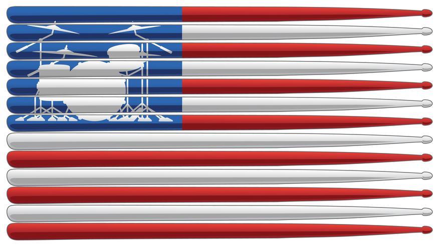 La bandiera del batterista con l'insieme del tamburo ed i bastoni del tamburo hanno isolato l'illustrazione di vettore