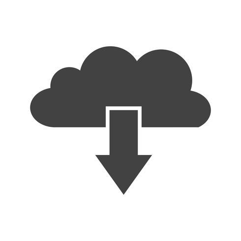 Nube Scarica Glyph Black Icon vettore
