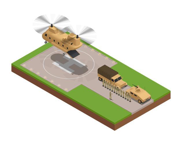 Composizione isometrica di base militare vettore