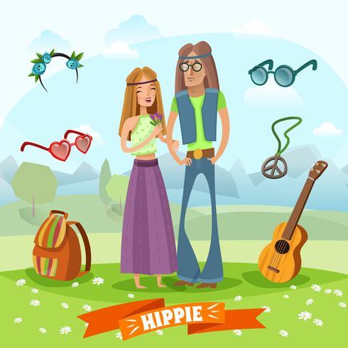 Sottocultura Hippie Composizione vettore