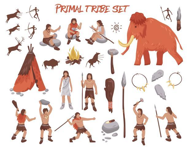 Set di icone di persone tribù primordiale vettore