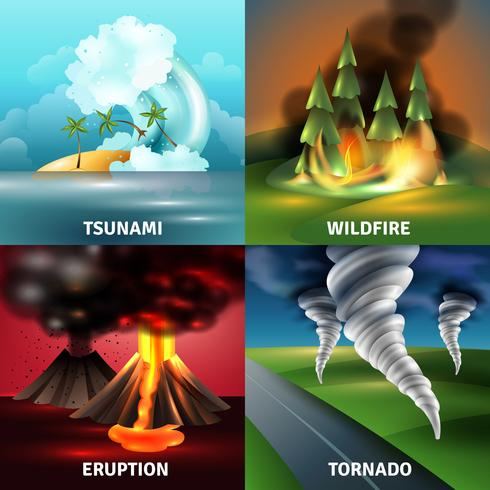Concetto di progettazione di disastri naturali vettore
