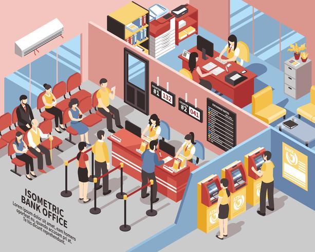 Illustrazione isometrica di Bank Office vettore