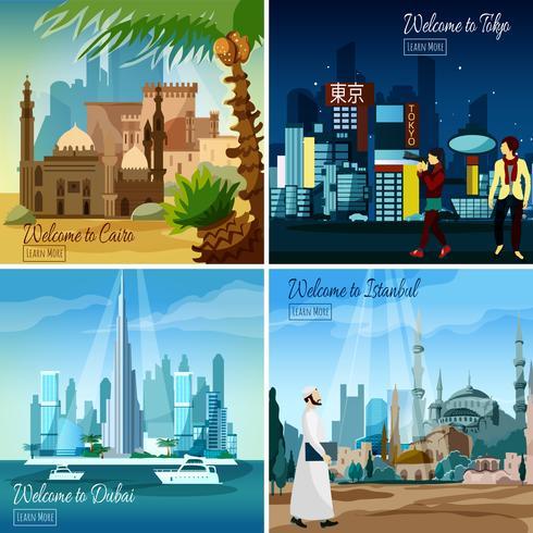 Paesaggi urbani turistici orientali vettore