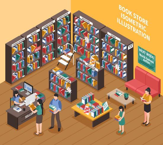 Illustrazione isometrica del negozio di libri vettore