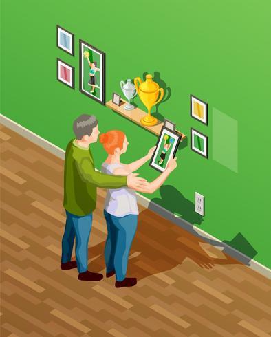 Illustrazione isometrica di genitori vettore