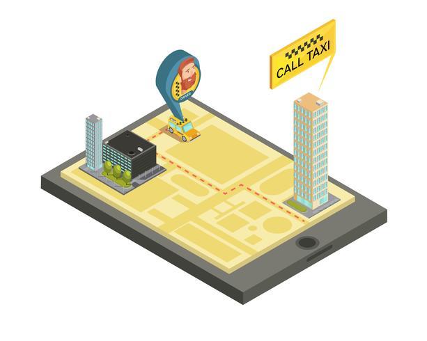 Illustrazione isometrica di servizio mobile del taxi vettore