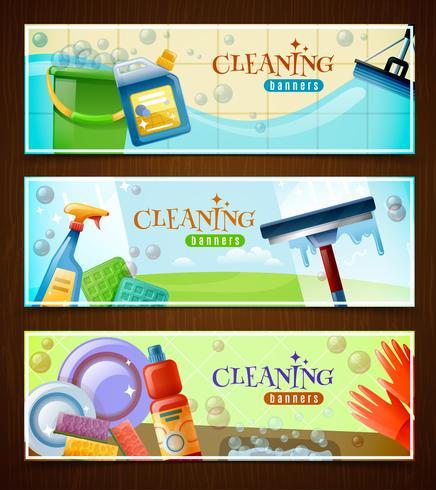 Set di banner orizzontali di pulizia vettore