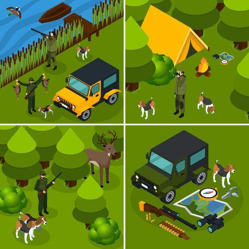 Set di icone di caccia vettore