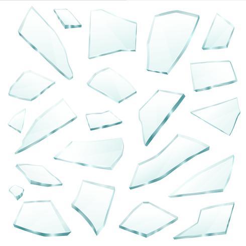 Insieme realistico di frammenti di frammenti di vetro rotto vettore