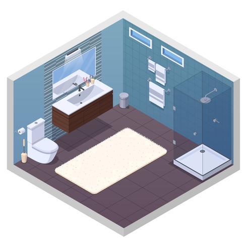 Composizione interna del bagno dell'hotel vettore