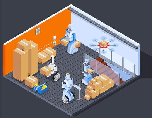 Composizione dei lavoratori del magazzino robotizzato vettore