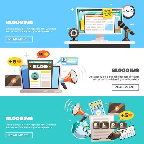 Set di banner orizzontali di blogging vettore
