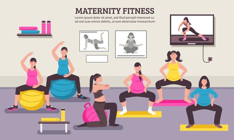 Poster piatto di maternità Fitness Class vettore