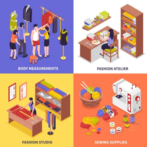 Concetto di design di moda Atelier 2x2 vettore