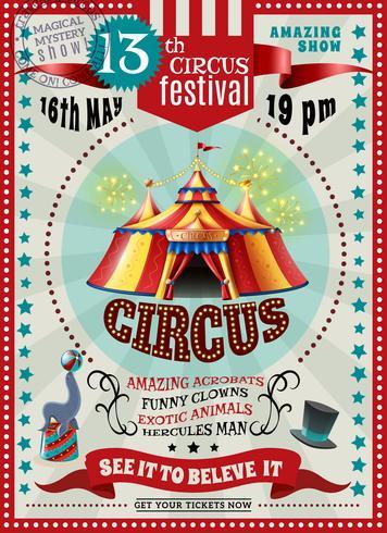 Poster retrò di circo festival annuncio vettore