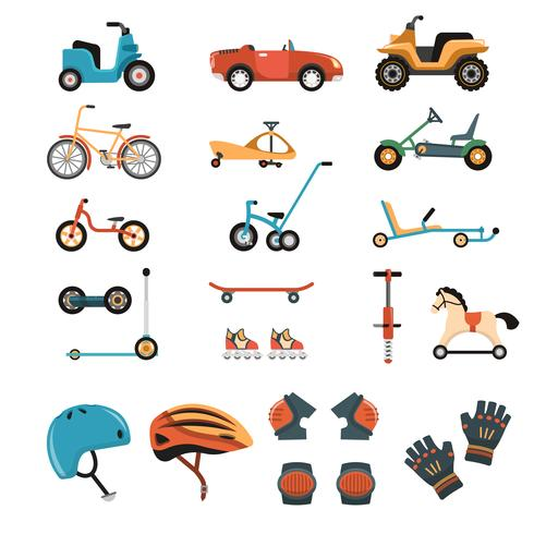 Collezione di elementi di giocattoli cavalcabili vettore