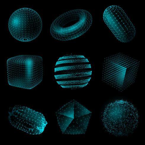 Insieme geometrico dell'icona di stile di tecnologia di forma 3D vettore