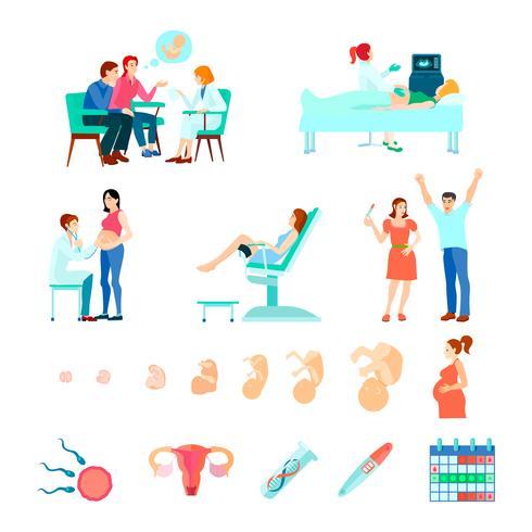 Set di icone di gestazione ostetricia ostetricia vettore