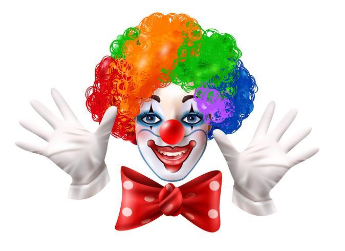 Clown del circo faccia pittoresco ritratto realistico vettore