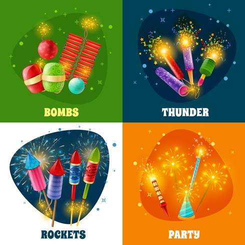 Firework Crackers Rockets 4 Icons Square vettore