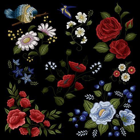 Motivo di moda popolare ricamo floreale vettore