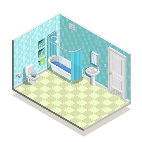 Composizione della stanza da bagno isometrica vettore
