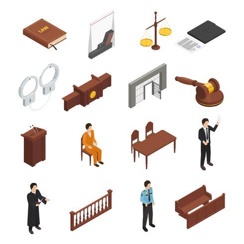 Set di icone isometriche di giustizia legge vettore