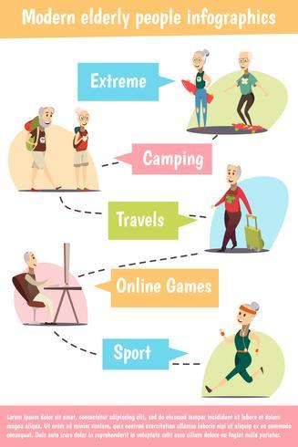 Insieme di Infographic di persone anziane vettore