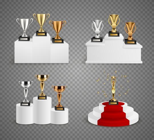 Set di design realistico di trofei su piedistalli vettore