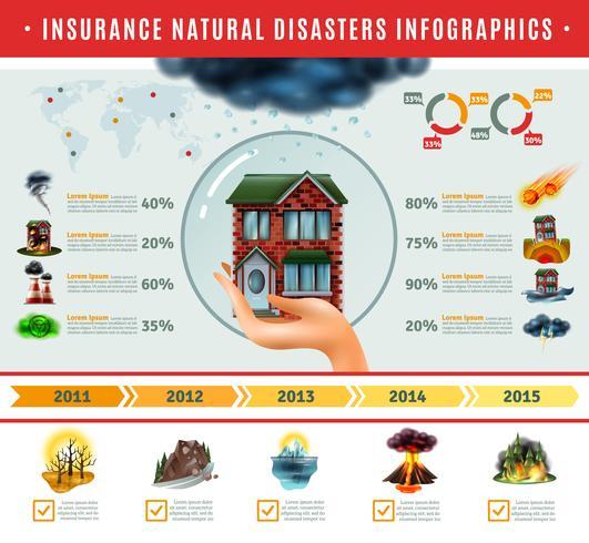 Assicurazione Disastri naturali Infographics vettore