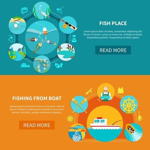 Set di bandiere di pesca galleggiante vettore