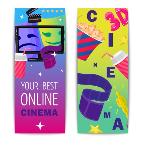 Cinema Due banner verticali isolati vettore