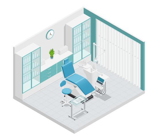 Composizione isometrica del gabinetto di stomatologia di stomatologia vettore