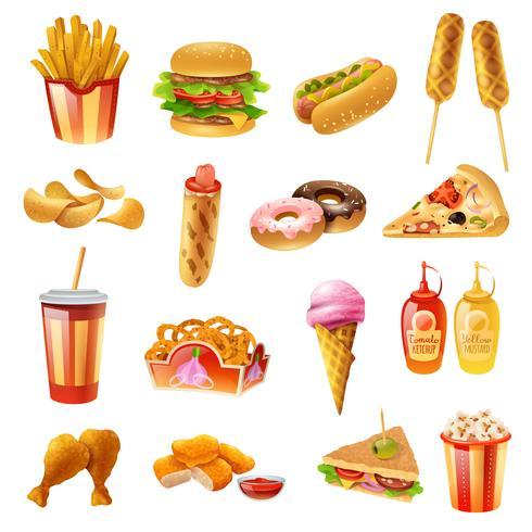 Icone variopinte del menu del fast food messe vettore