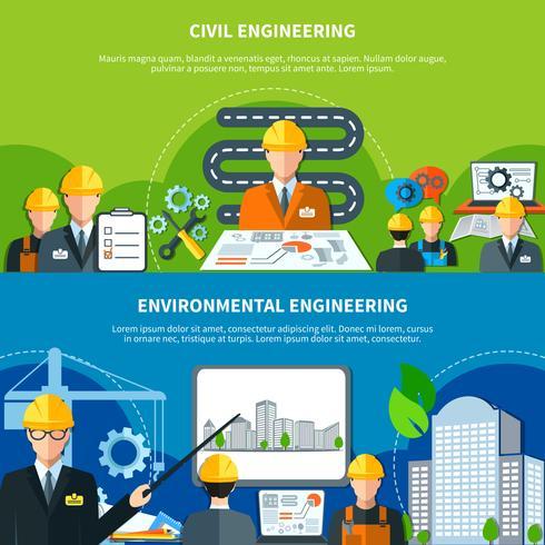 Set di banner di ingegneria civile vettore