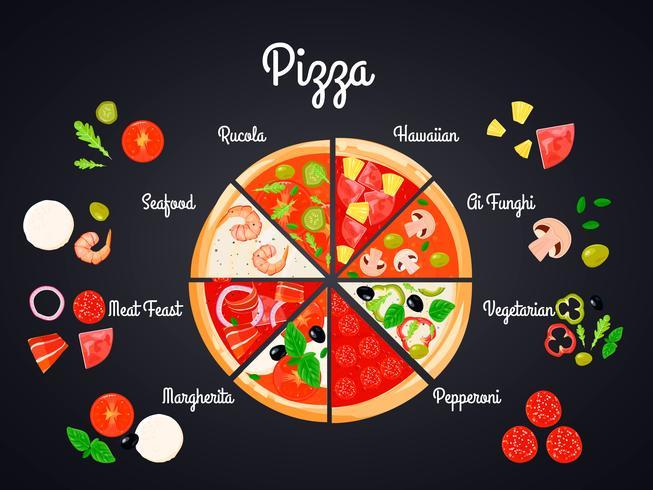 Selezione del concetto di pizza vettore