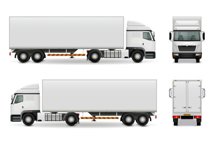 Realistico modello di pubblicità di camion pesanti vettore