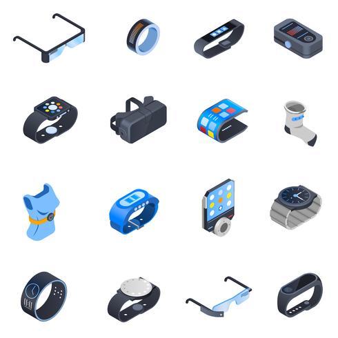 Set di icone isometriche tecnologia indossabile vettore
