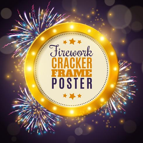 Manifesto variopinto del fondo della pagina del cracker del fuoco d'artificio vettore