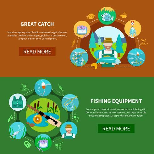 Striscioni orizzontali dell'attrezzatura di pesca vettore