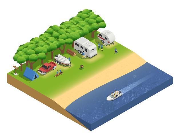 Veicoli ricreativi sulla composizione isometrica della spiaggia vettore