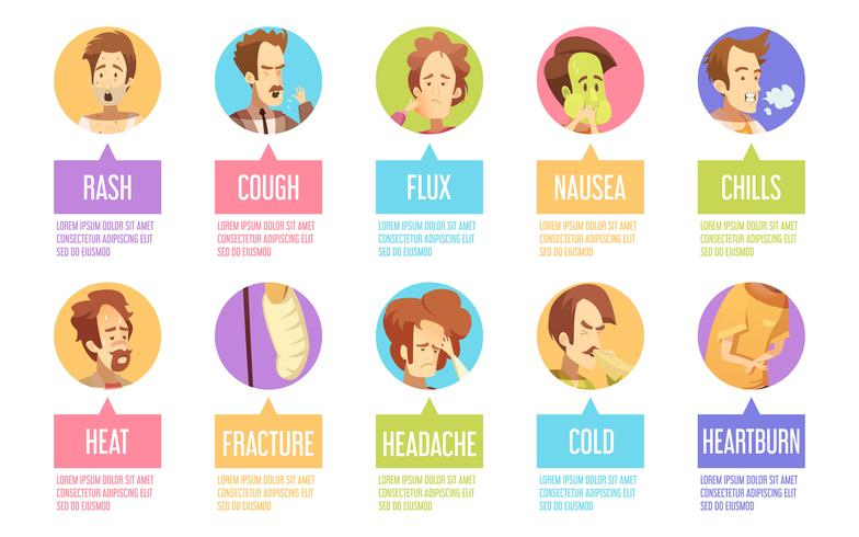 Set di icone di Cartoon Sickness Man vettore